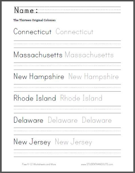 thirteen colonies handwriting  spelling sheet