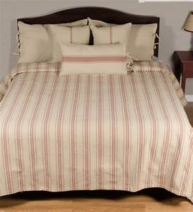 Grain Sack Stripe Queen Bed Cover Oatmeal Barn Red