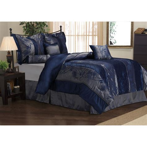 rosemonde  piece navy blue comforter set college