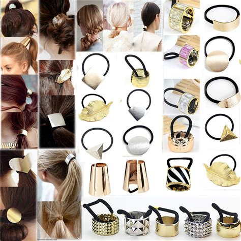 hair ponytail band metal elastic holder cuff clip rope