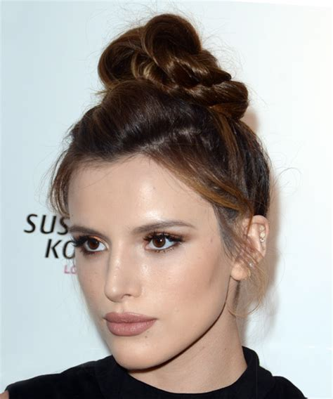 bella thorne casual long straight updo hairstyle dark