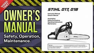 Owner U0026 39 S Manual  Stihl 017 018 Chain Saw