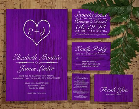 Purple Country Wedding Invitation Set/suite, Invites, Save