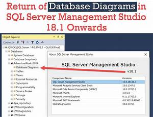 Database Diagram - Available Again In Sql Server Management Studio 18 1 Onwards
