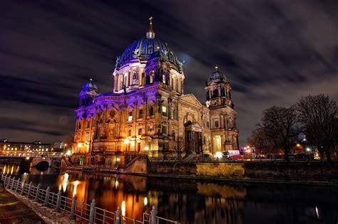 Germany Berlin River Night Cities Wallpaper 2048x1365