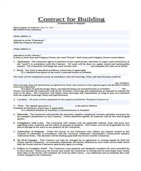 sample contract templates  premium templates