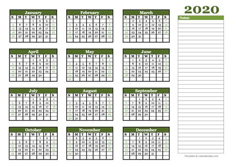 yearly calendar  blank notes  printable