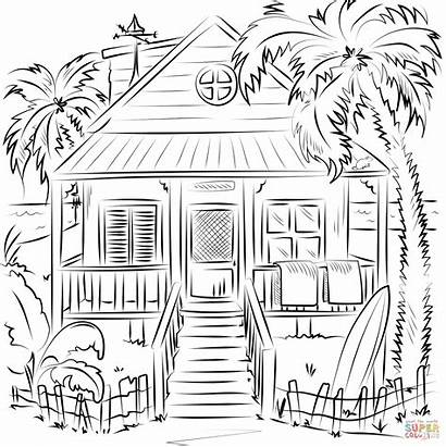 Coloring Pages Beach Printable Drawing Holidays Paper