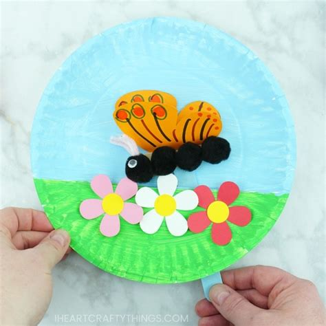 paper plate fluttering butterfly craft 290 | flying butterfly craft