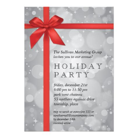 wrapped silver glow corporate holiday party personalized invitation zazzle