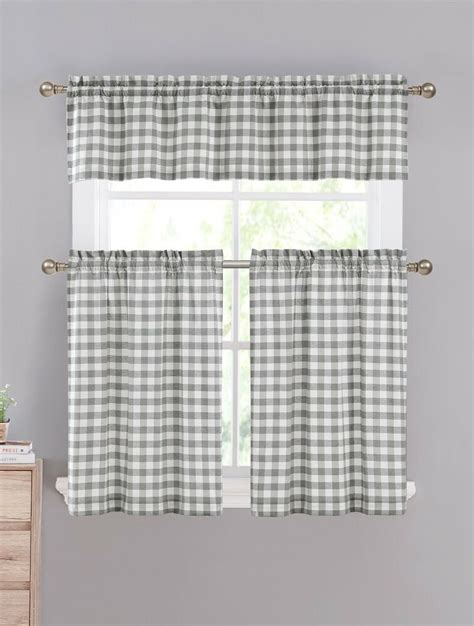 gray white gingham checkered plaid kitchen curtain set