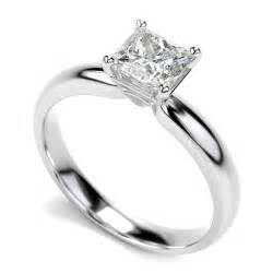 14k white gold princess cut solitaire engagement ring 34 ct h vs2 pughsdiamonds - Slice Engagement Ring