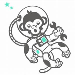 Astronaut Monkey Wall Decals for Outer Space Themed Kids Rooms