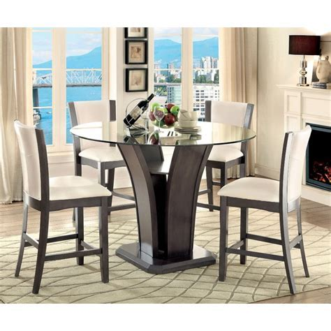 Furniture of America Sampson Round Counter Height Dining