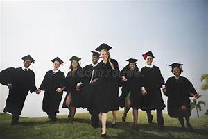 Group Students Holding Hands Graduation Concept Stock ...