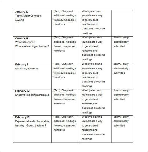 college schedule template   word excel