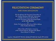 Felicitation Ceremony Mrs Hema Jayasinghe Visakha