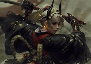 Original, Characters, Anime, Girls, 2d, Guweiz, Z, W, Gu, Digital, Art, Samurai, Female, Warrior, Katana