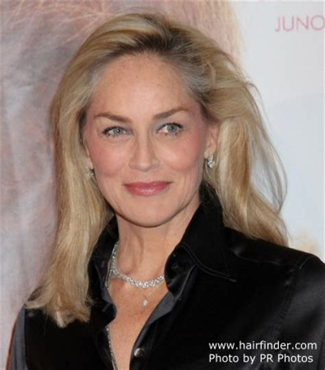sharon stone long smoothed hairststyle   shiny