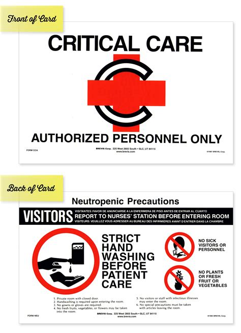 Critical Care And Neutropenic Precautions Sign Brevis