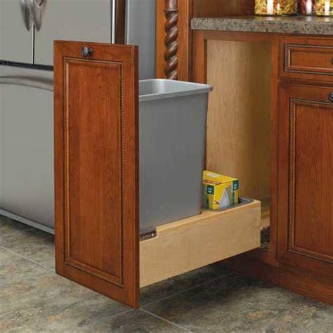 kitchen cabinet trash pull out rev a shelf single trash pullout 50 quart wood 4wcbm 7966