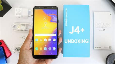 pertama samsung galaxy j4 plus unboxing indonesia mirip kaca harga 2 jutaan youtube