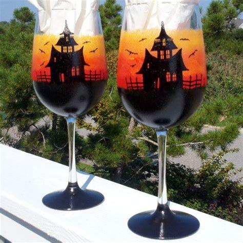 halloween wine glasses ideas  pinterest black