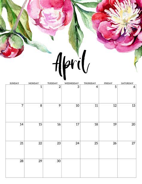 april  calendar cute