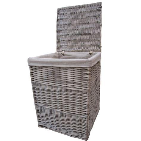 Antique Wash Square Wicker Laundry Basket