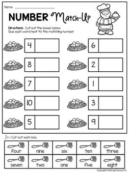 number words match  activity numbers    polliwog