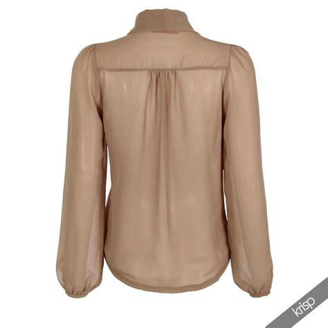 chiffon blouses womens see through chiffon blouse bow tie top sleeve