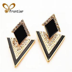Big Black Stud Earrings For Women Cute Gold Earings