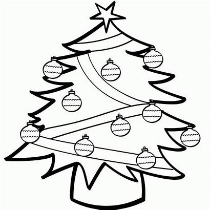 Christmas Coloring Tree Pages Ornaments Decoration Clipart