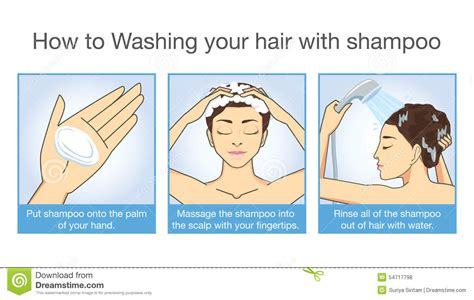 How To Shampoo Your Hair Stock Vector  Image 54717798