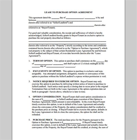 Rent To Buy Contract Template by Purchase Template For Lease Agreement Sle Of Lease