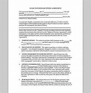 purchase template for lease agreement sample of lease With rent to buy agreement template
