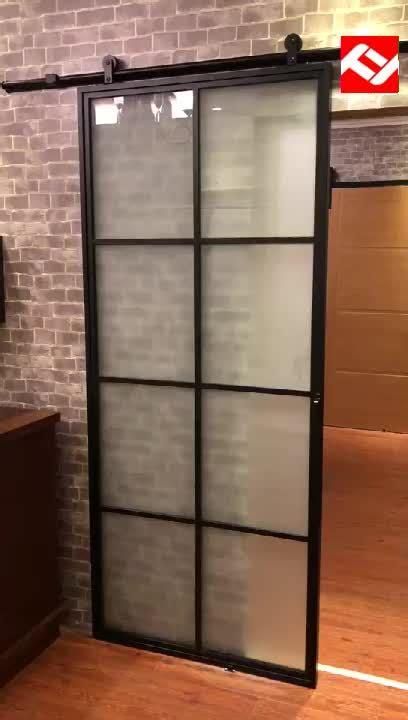 frosted glass interior door  black steel frame steel