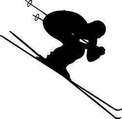Skier Metal Art   ... Figures (gold clip art)> DOWNHILL ...