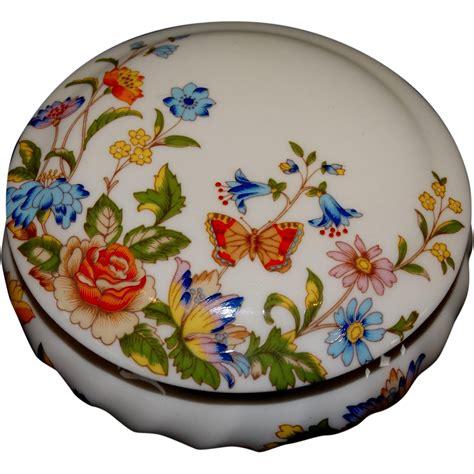 Aynsley Trinket Vanity Jar Bone China Cottage Garden
