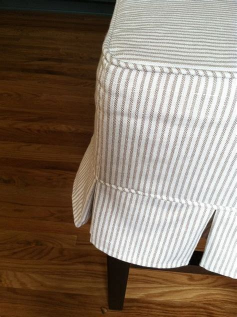 ticking slipcover box pleat detail slipcovers