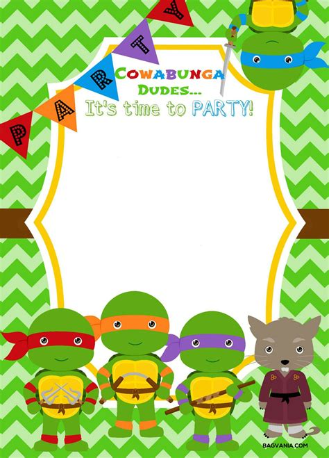 printable ninja turtle birthday party