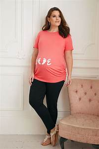 Bump It Up Maternity Coral Glittery 39 Love 39 Top Plus Size