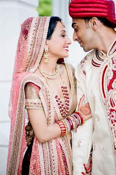 Indian Groom Bride Traditional Attire Makeup Romantic