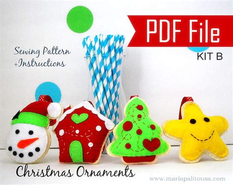 Magicforest Tree Sewing Set pdf diy ornament set of 4 felt sewing pattern