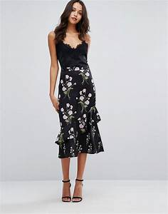 Warehouse floral printed ruffle midi skirt black u00a334.00   londonfashionblog.com
