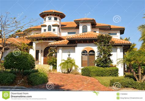 spanish style home  tower stock photo image
