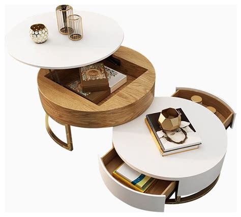 Modrest, for example, is a table with a lovely round top and a tapered base. Round Coffee Table with Storage Lift-Top Wood Coffee Table with Rotatable Drawer - Contempo… in ...