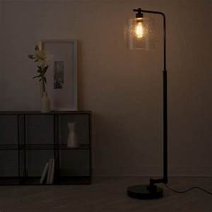 Seeded glass industrial floor lamp oil rubbed bronze for Floor lamp seeded glass