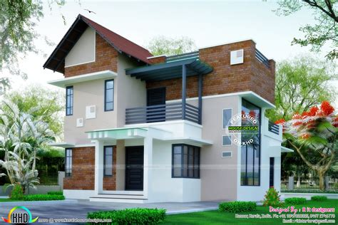 Brick Wall Mix Modern House Plan  Kerala Home Design And