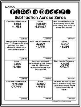 4th Grade Common Core Subtraction Across Zeros (find A